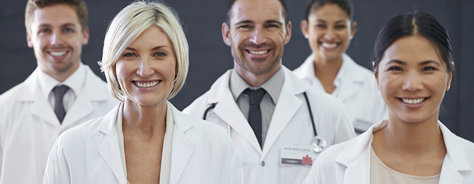 Cropped shot of a group of smiling doctors